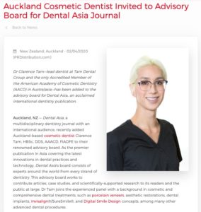 Auckland Cosmetic Dentist Added to Dental Asia Advisory Board